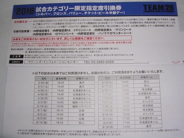 千葉ロッテ 内野指定席引換券(ZOZOマリンスタジアム)の画像