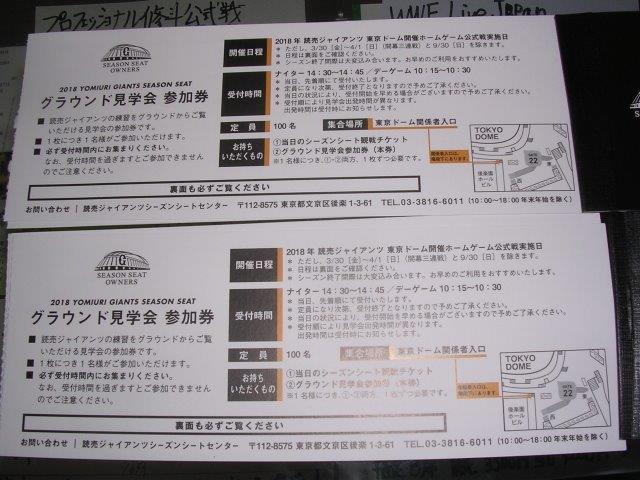 ジャイアンツ(東京ドーム)グラウンド見学会 参加券の画像