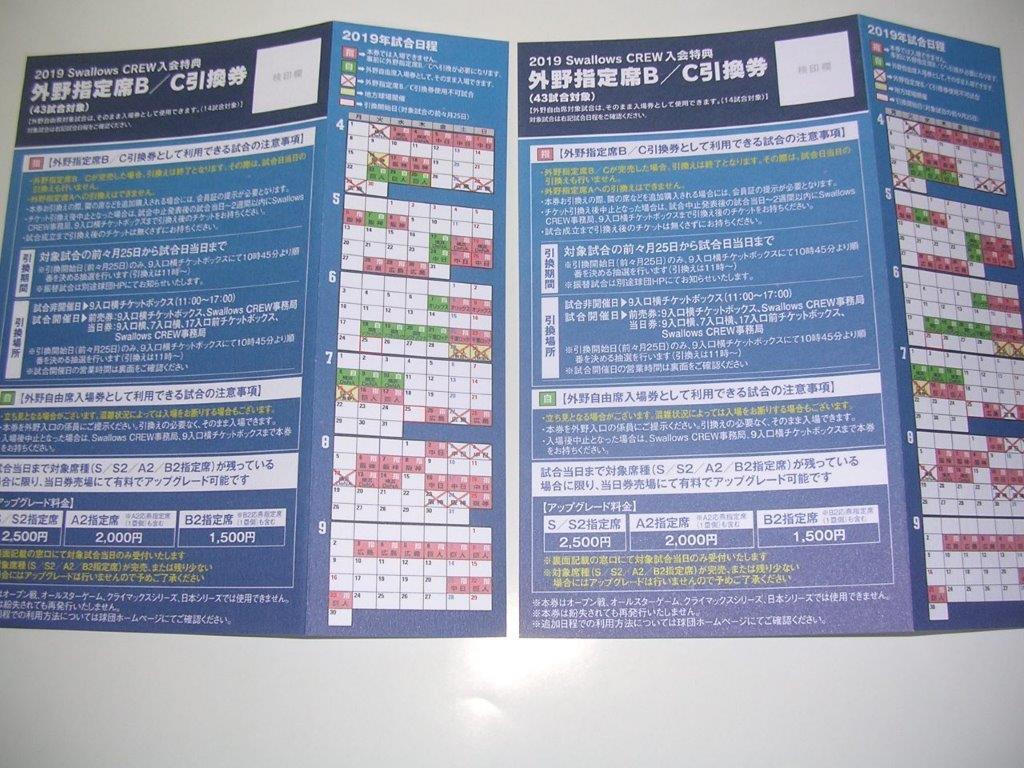 東京ヤクルト戦 外野指定席B/C引換券&外野自由席券 神宮球場の画像