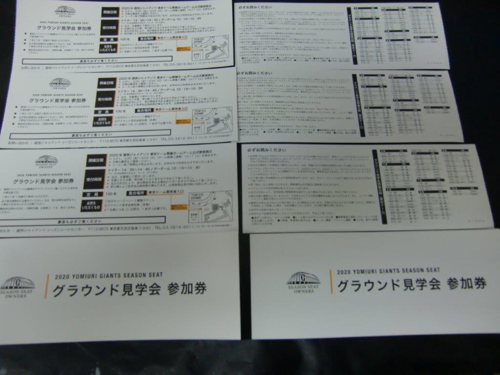 使用できるか未定 読売ジャイアンツ 2020年 グラウンド見学会 参加券 東京ドームの画像